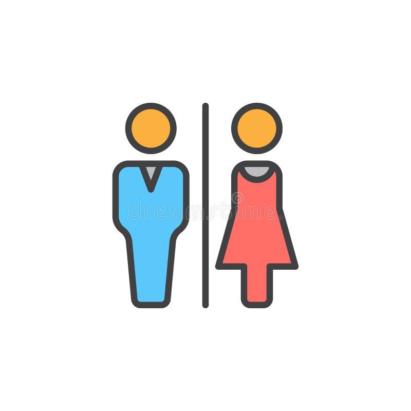 O toalete do homem e da mulher alinha o ícone, sinal enchido do vetor do esboço, pictograma colorido linear isolado no branco ilustração do vetor