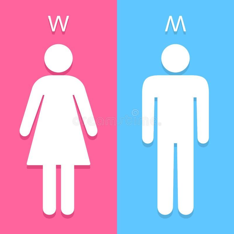 O toalete dos homens e das mulheres assina grande para todo o uso Vetor eps10 fotografia de stock royalty free