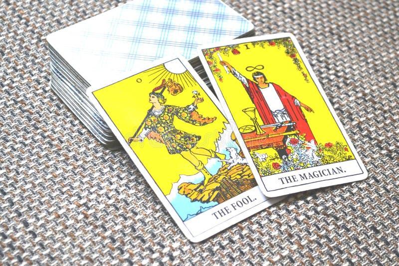 O tolo o mágico Tarot Card Predictions imagem de stock