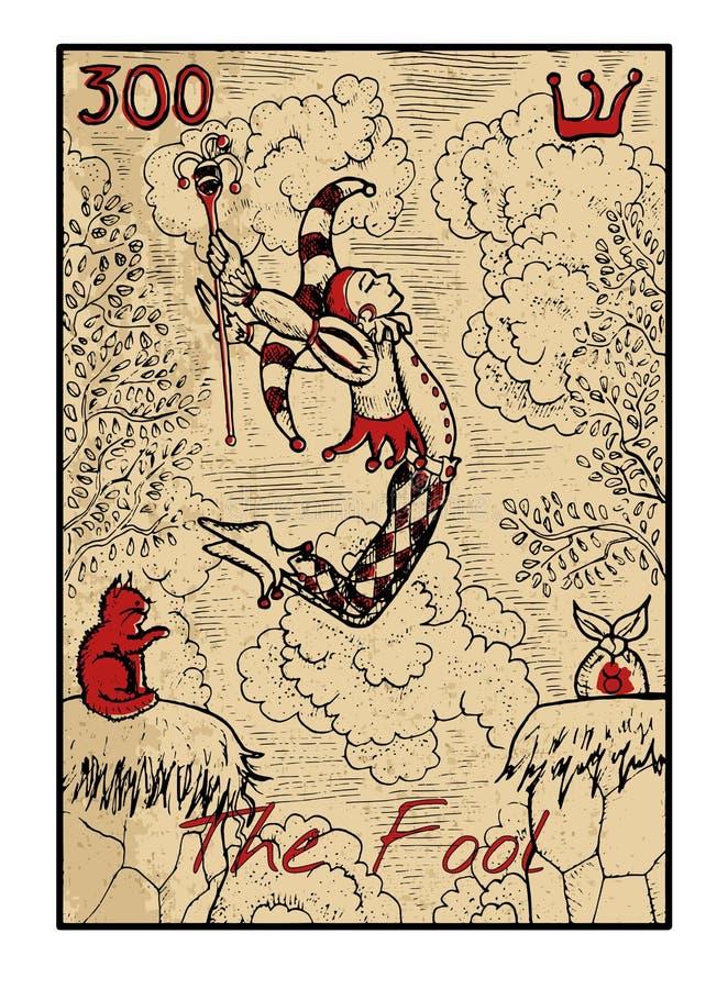 O tolo O cartão de tarô ilustração royalty free