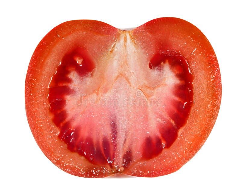 O tomate vermelho fresco cortou isolado verticalmente no branco imagens de stock