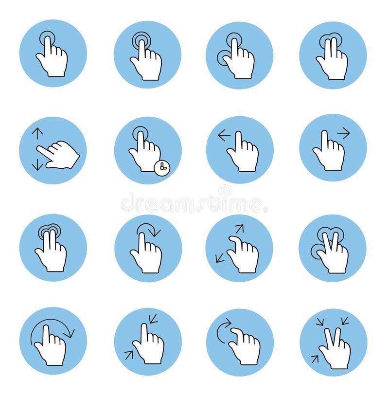O toque gesticula ícones ilustração do vetor
