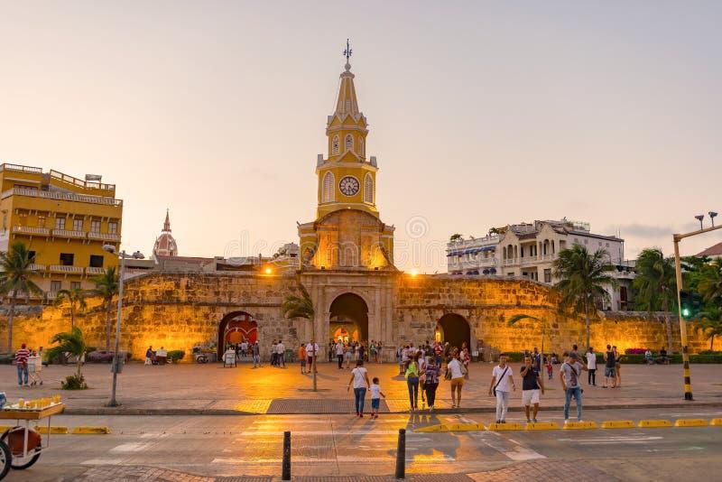 O Torre del Reloj, ou torre de pulso de disparo em Cartagena, Colômbia imagens de stock royalty free