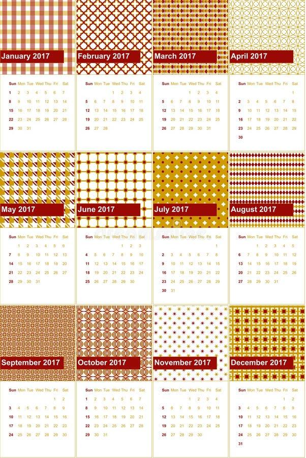 O totem e o ouro de buddha coloriram o calendário geométrico 2016 dos testes padrões ilustração royalty free