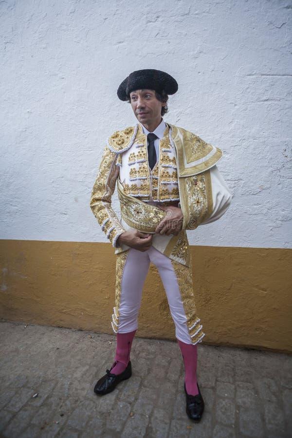 O toureiro espanhol Curro Diaz focalizou totalmente momentos antes imagem de stock