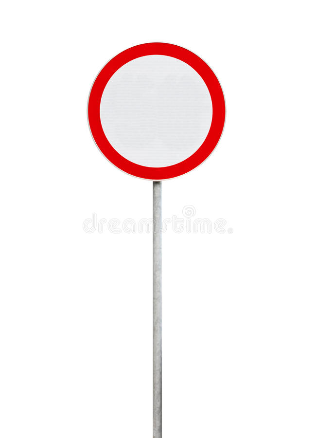 O tráfego é proibido, sinal de estrada isolado no branco imagens de stock royalty free