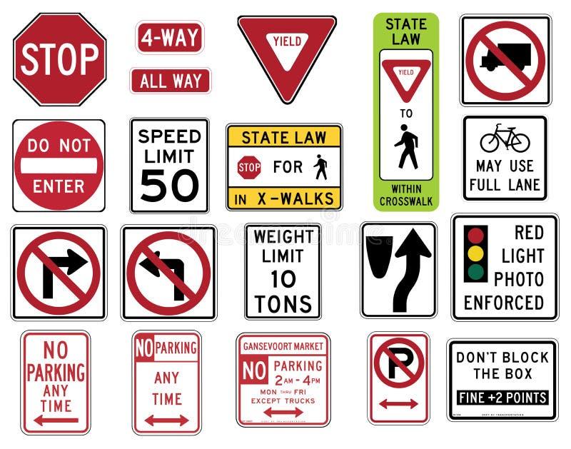 O tráfego assina dentro os Estados Unidos - série reguladora ilustração royalty free