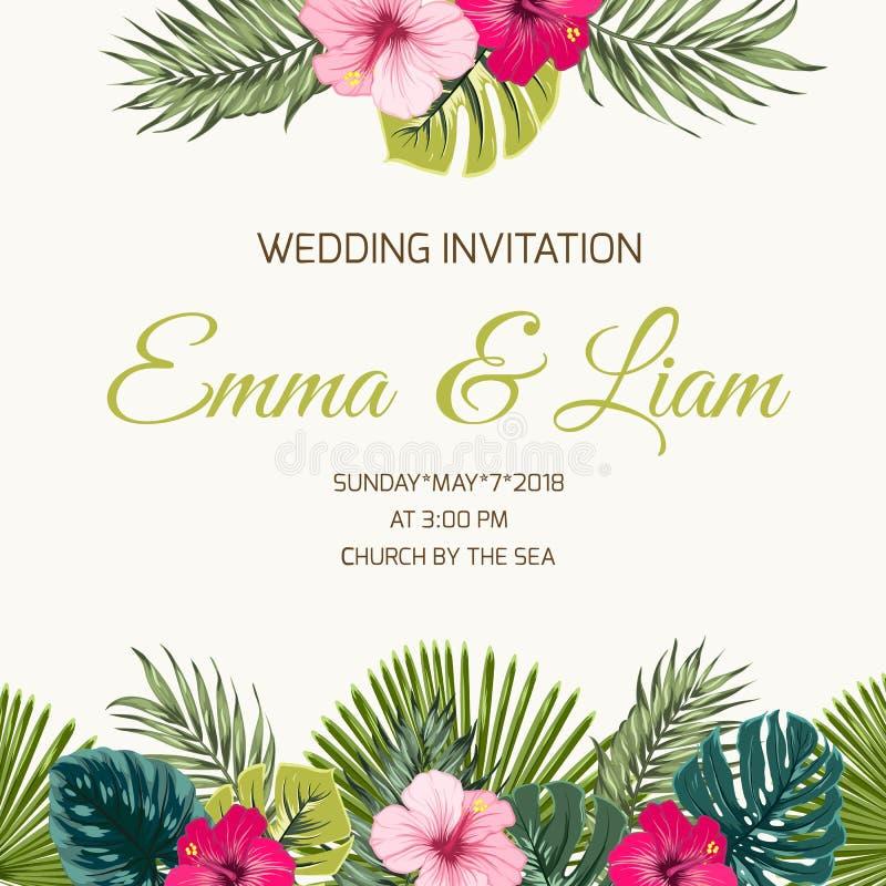 O trópico do convite do casamento deixa as hortaliças do hibiscus ilustração stock