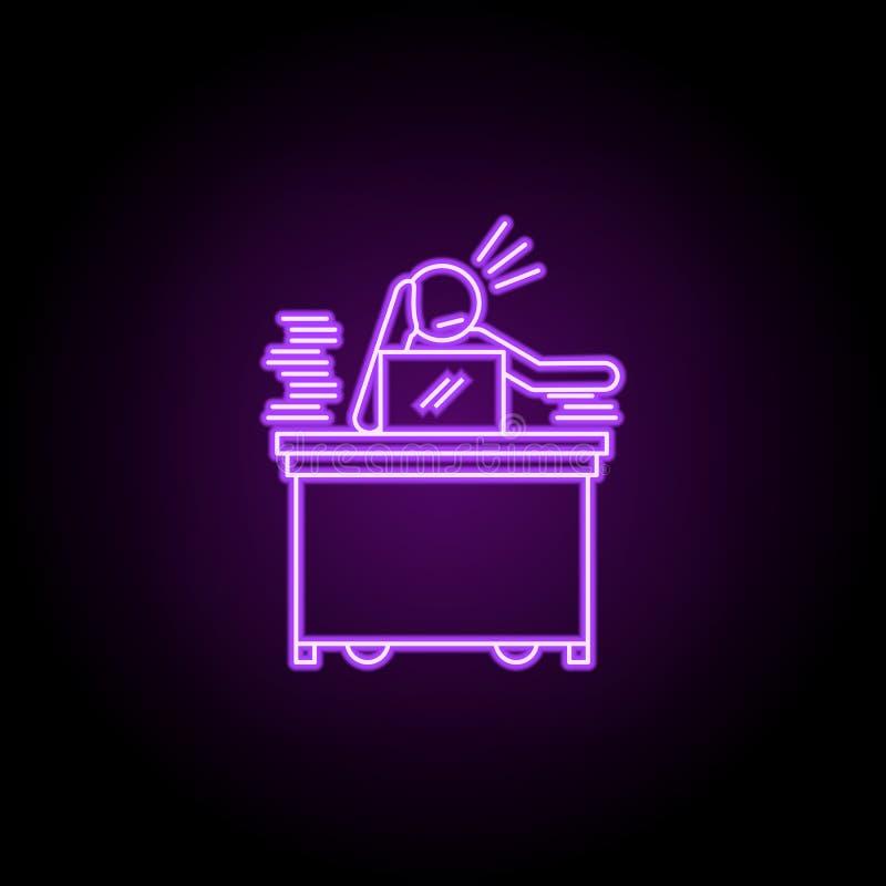 o trabalhador é ícone de néon furado Elementos dos povos no grupo do trabalho ?cone simples para Web site, design web, app m?vel, ilustração stock