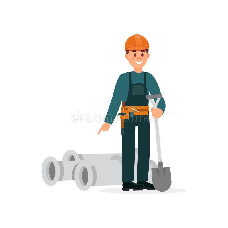 O trabalhador da construção nos macacões e os capacetes protetores que estão com pás e tubulações do pvc vector a ilustração na ilustração do vetor