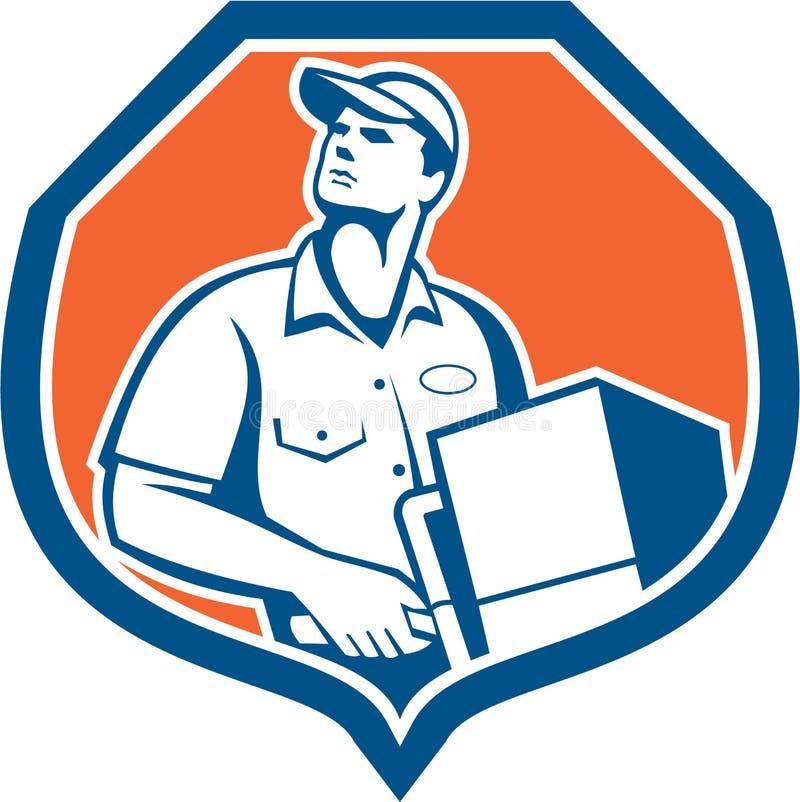 O trabalhador da entrega entrega a caixa da caixa do pacote retro ilustração royalty free