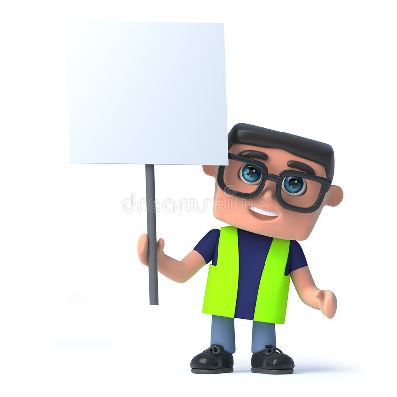 o trabalhador da saúde 3d e da segurança sustenta um cartaz ilustração stock