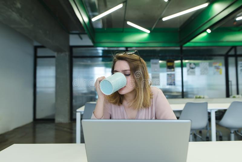 O trabalhador de escritório bebe o café ao trabalhar em um computador A menina bebe uma bebida quente da caneca e usa um portátil fotografia de stock royalty free