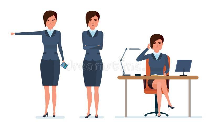 O trabalhador de escritório comunica-se com os clientes pelo telefone, estatísticas da pesquisa, calcula ilustração royalty free