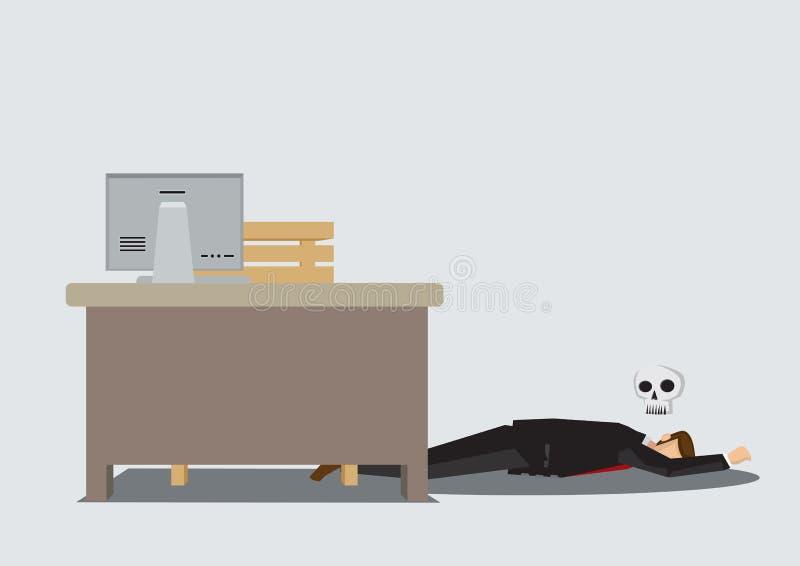O trabalhador de escritório morreu na ilustração do vetor do desenho dos desenhos animados do trabalho ilustração do vetor