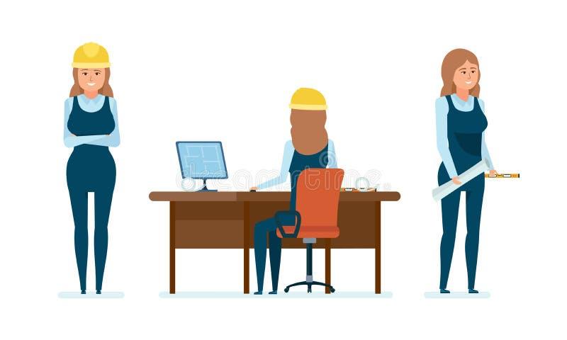 O trabalhador do arquiteto da mulher, prepara desenhos, trabalha no projeto, faz cálculos ilustração do vetor