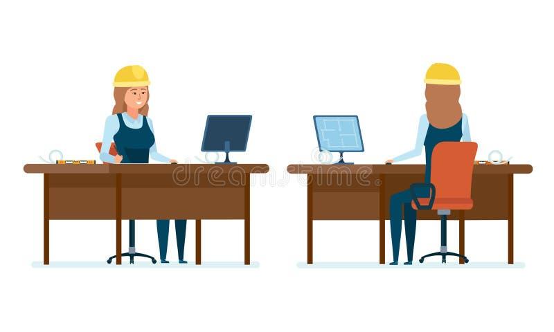 O trabalhador do arquiteto da mulher, prepara desenhos, trabalha no projeto, faz cálculos ilustração stock