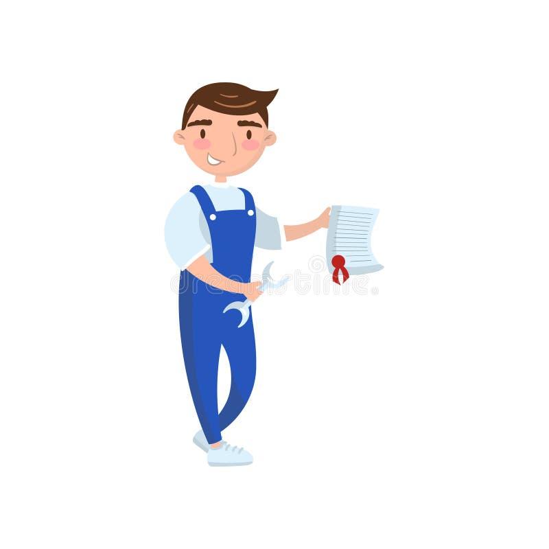 O trabalhador do auto mecânico que mostra o original de papel, conceito do seguro de carro, auto diagnósticos presta serviços de  ilustração stock