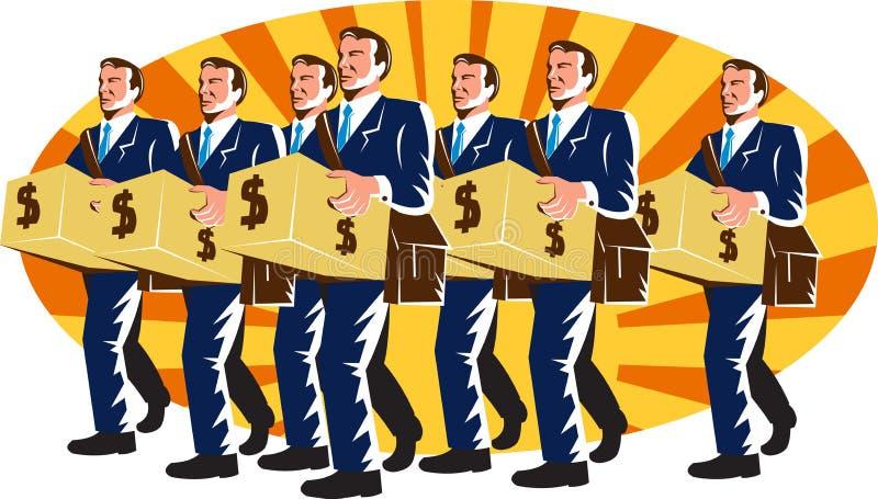 O trabalhador do banqueiro do homem de negócios carreg a caixa de dinheiro retro ilustração stock