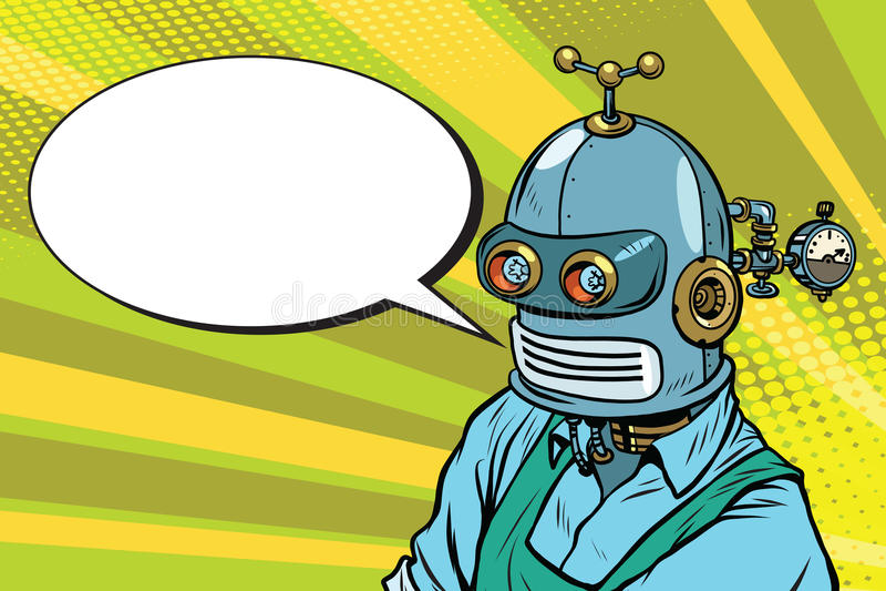 O trabalhador do robô no avental diz, a bolha da banda desenhada ilustração royalty free