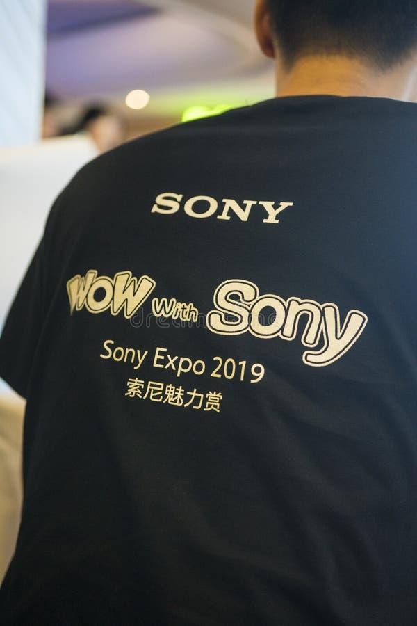 O trabalhador em Sony Expo 2019 imagens de stock royalty free