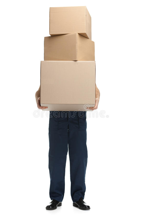 O trabalhador entrega o pacote imagem de stock royalty free