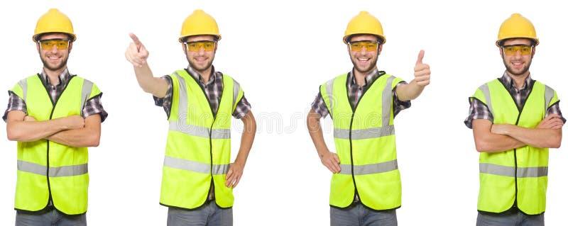 O trabalhador industrial isolado no branco foto de stock royalty free