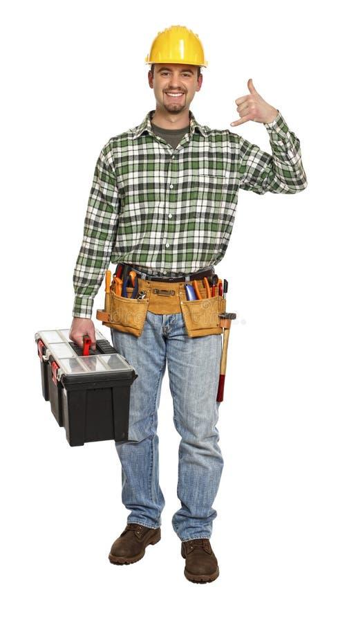 O trabalhador manual contata-nos imagem de stock royalty free