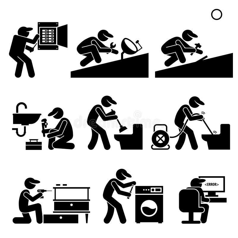 O trabalhador manual Electrician Plumber Roofer do técnico presta serviços de manutenção a Clipart ilustração royalty free