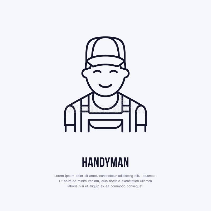 O trabalhador manual presta serviços de manutenção ao logotipo, linha lisa ícone do reparador ilustração royalty free