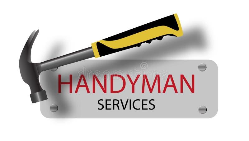 O trabalhador manual profissional presta serviços de manutenção ao logotipo martelo Um sinal pregado Repa ilustração do vetor
