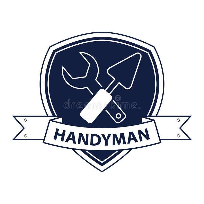 O trabalhador manual profissional presta serviços de manutenção ao logotipo Silhueta das ferramentas para o reparo no azul ilustração do vetor