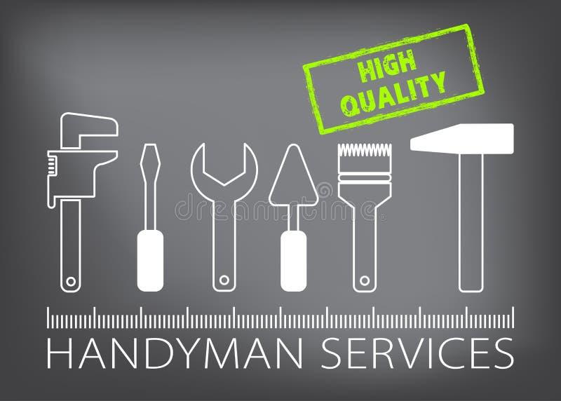 O trabalhador manual profissional presta serviços de manutenção ao logotipo Silhueta das ferramentas para o reparo Selo de alta q ilustração stock