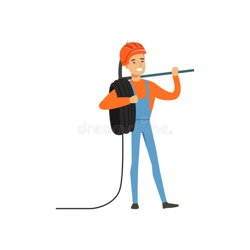 O trabalhador masculino do mineiro no uniforme que está com picareta e o fio rolam, mineiro profissional no trabalho, indústria c ilustração stock