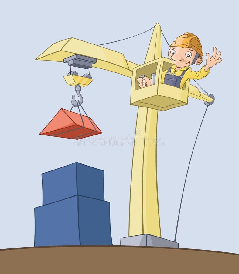 O trabalhador no guindaste levanta a carga ilustração do vetor