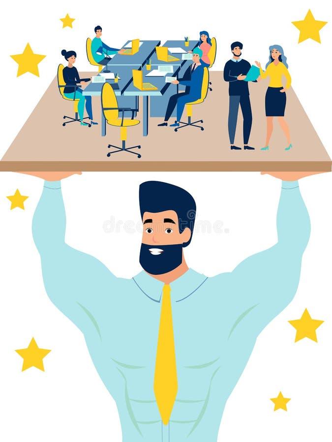O trabalhador principal, gerente, gerente mantém o escritório como Hercules No estilo minimalista Vetor liso dos desenhos animado ilustração do vetor