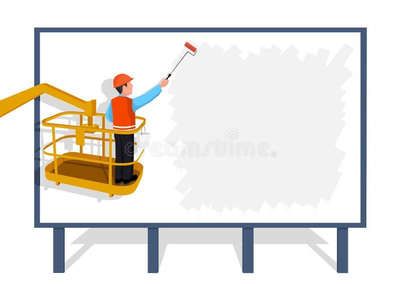 O trabalhador que está em uma escada cola uma bandeira de papel ilustração stock