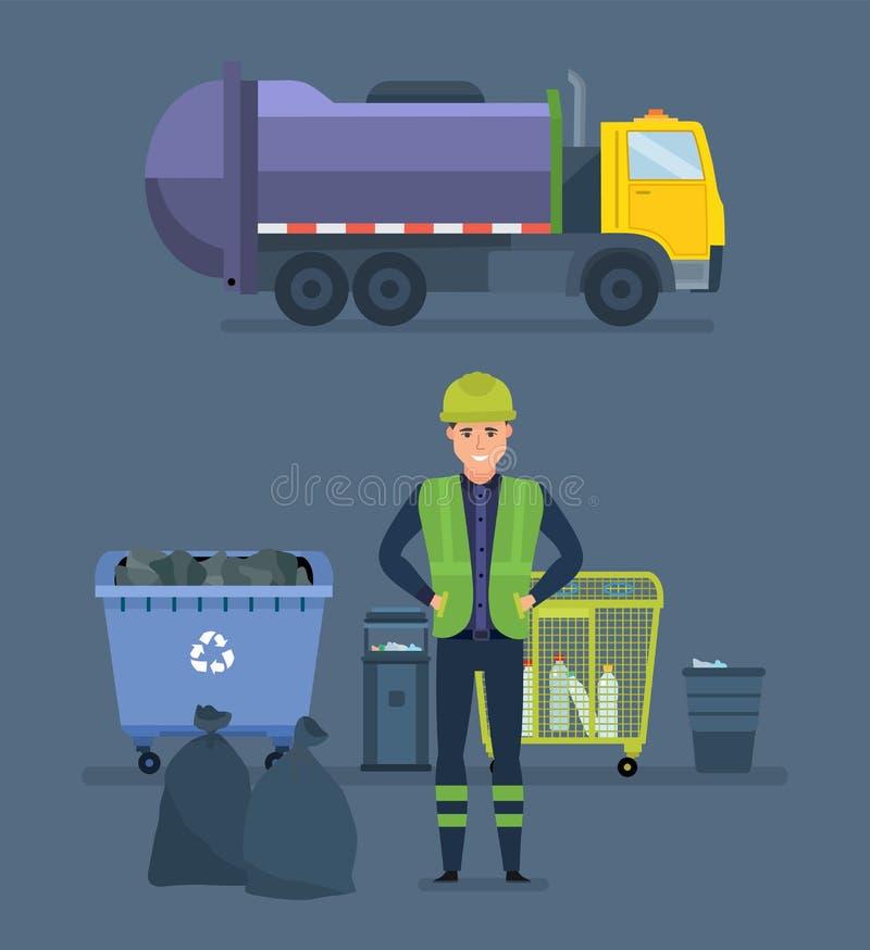 O trabalhador recolhe o lixo no caminhão de lixo, remove-lhe a cidade ilustração royalty free