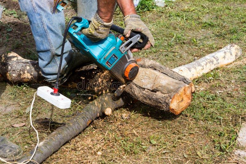 O trabalhador vê o log com uma serra elétrica fotos de stock royalty free