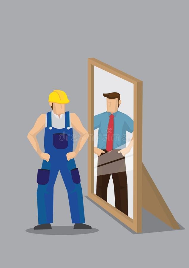 O trabalhador vê-se como o profissional do negócio no espelho Reflectio ilustração stock