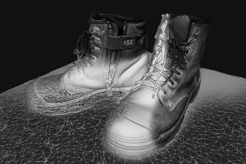 O trabalho carreg o modelo 3D que mostra o wireframe ilustração do vetor