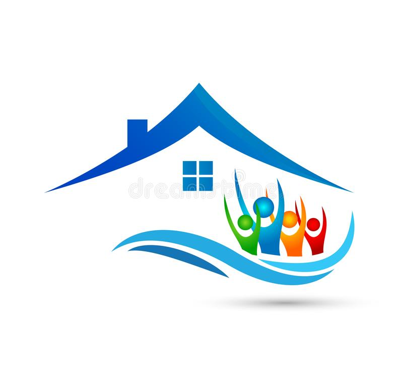 O trabalho da equipe da união dos povos que comemora o coração feliz da união da onda do logotipo da casa familiar do happyness/á ilustração do vetor