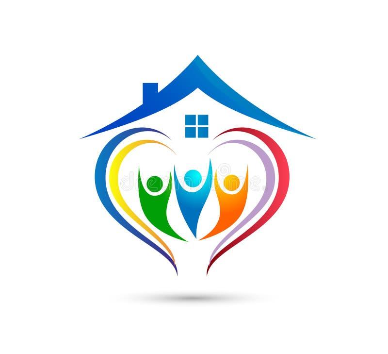 O trabalho da equipe da união dos povos que comemora o logotipo da casa familiar do happyness/o coração feliz união do amor deu f ilustração do vetor