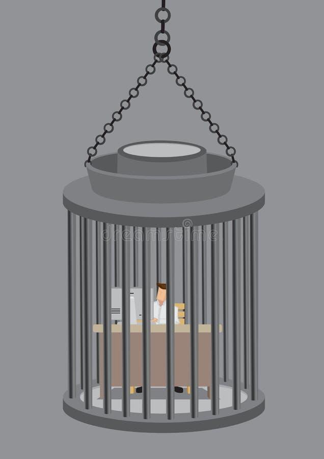 O trabalho sente como o negócio conceptual Illustraiton da prisão ilustração do vetor