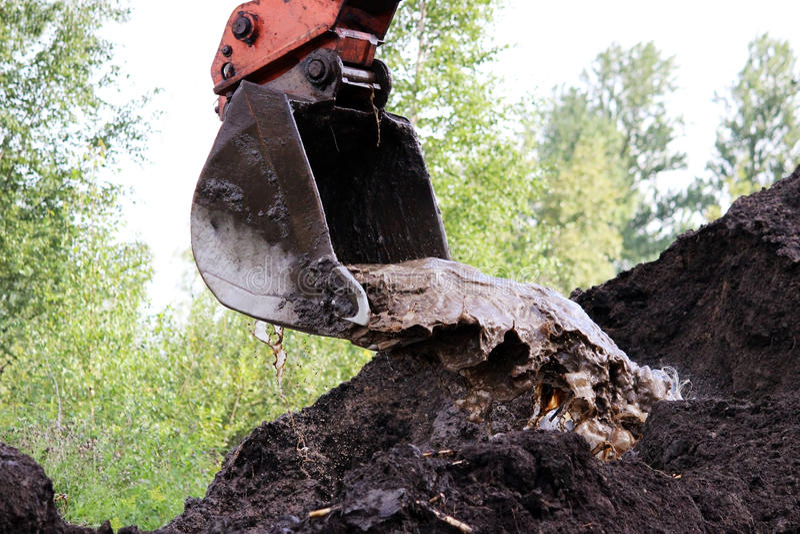 o trabalho sujo da cubeta da máquina escavadora, que escava e nivelou as colheres à terra molha em reparos da estrada fotos de stock