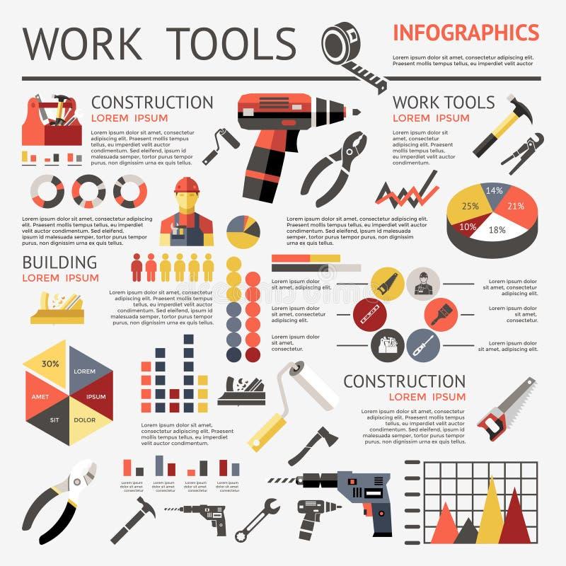 O trabalho utiliza ferramentas Infographic ilustração stock