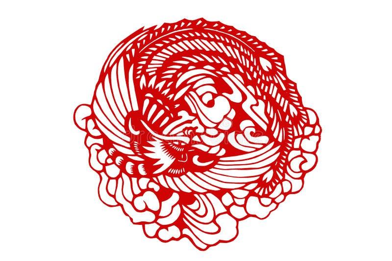 O tradicional papel-cortou o phoenix chinês ilustração do vetor