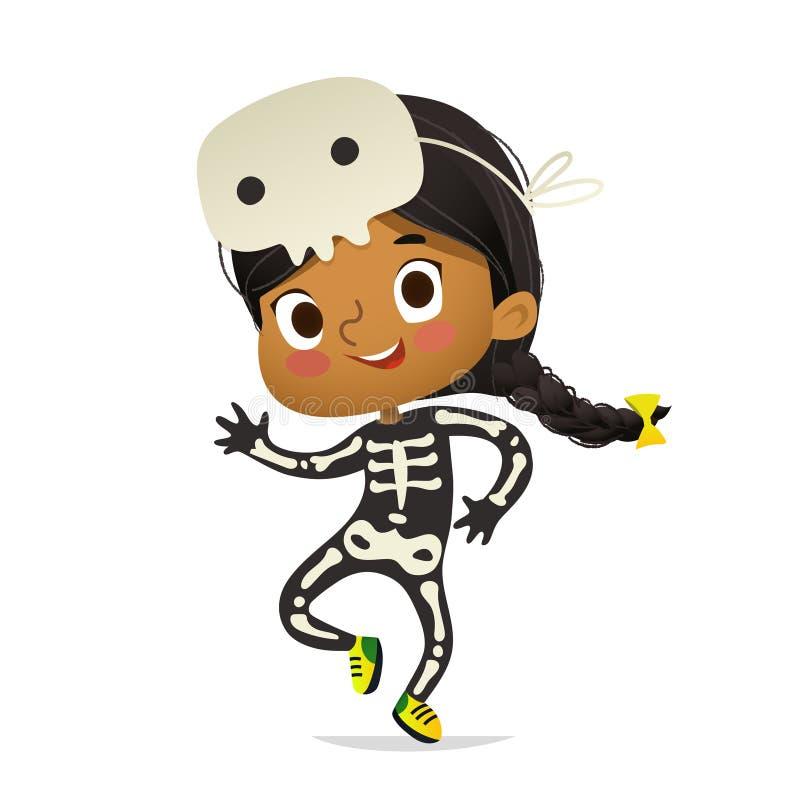 O traje e o crânio vestindo do skeletom da menina afro-americano mascaram a dança Criança da menina na dança do traje de Dia das  ilustração stock