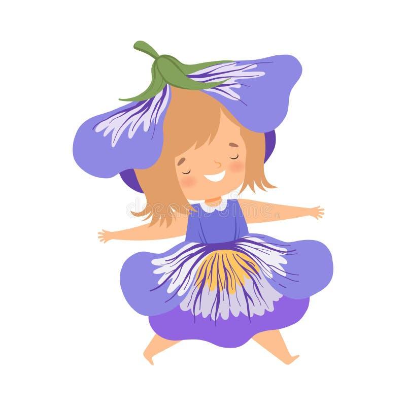 O traje vestindo da flor dos azuis cobalto da menina bonita, criança adorável feliz no carnaval veste a ilustração do vetor ilustração stock