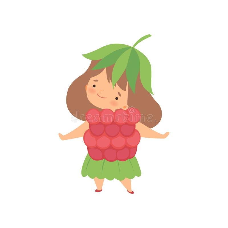 O traje vestindo da framboesa da menina bonito, personagem de banda desenhada adorável da criança no carnaval veste a ilustração  ilustração stock